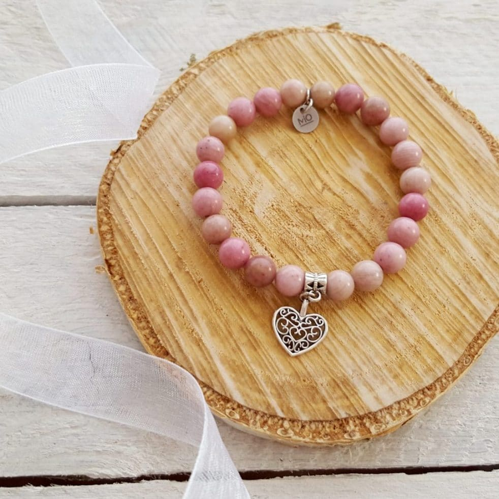 Słodkie serce bransoletka z rodonitu kamienie naturalne