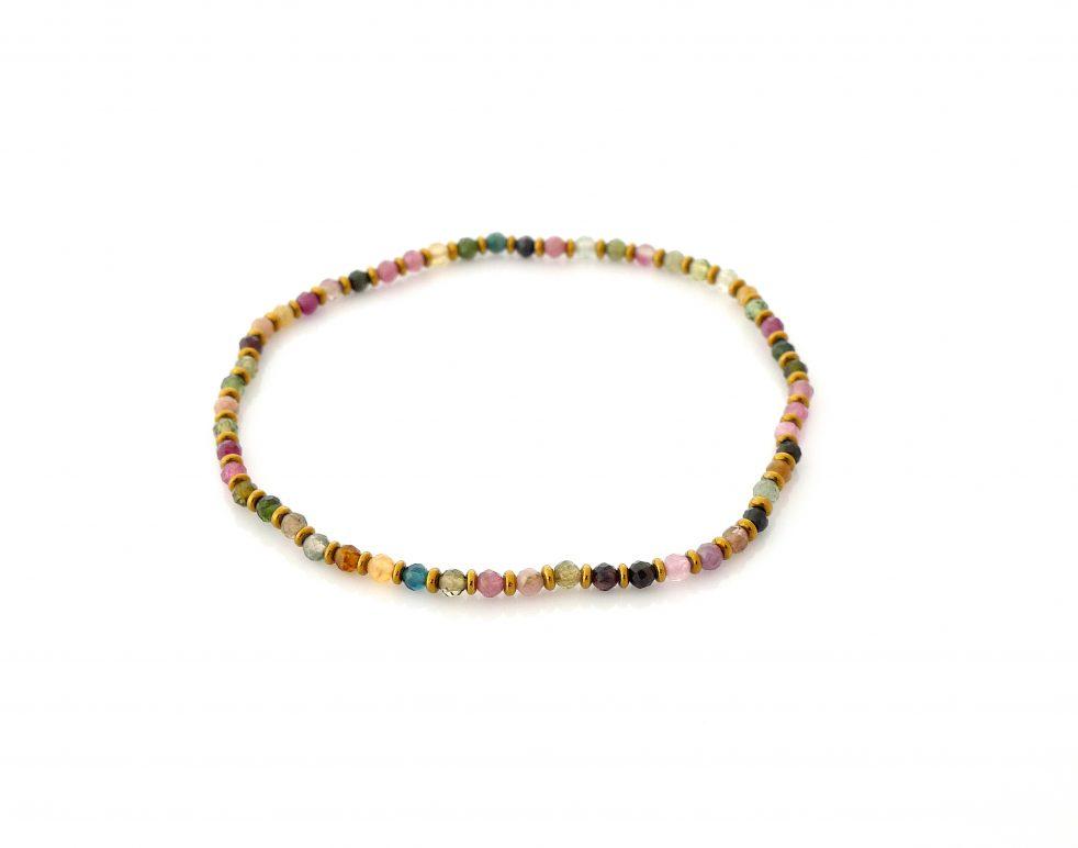 bransoletka mini kamienie turmalin kolorowa na gumce