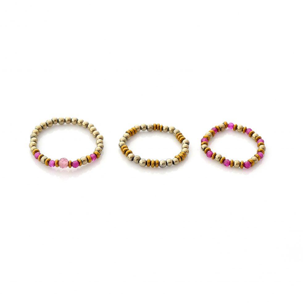 rubinowe trio pierścionki elastyczne z kamieni naturalnych