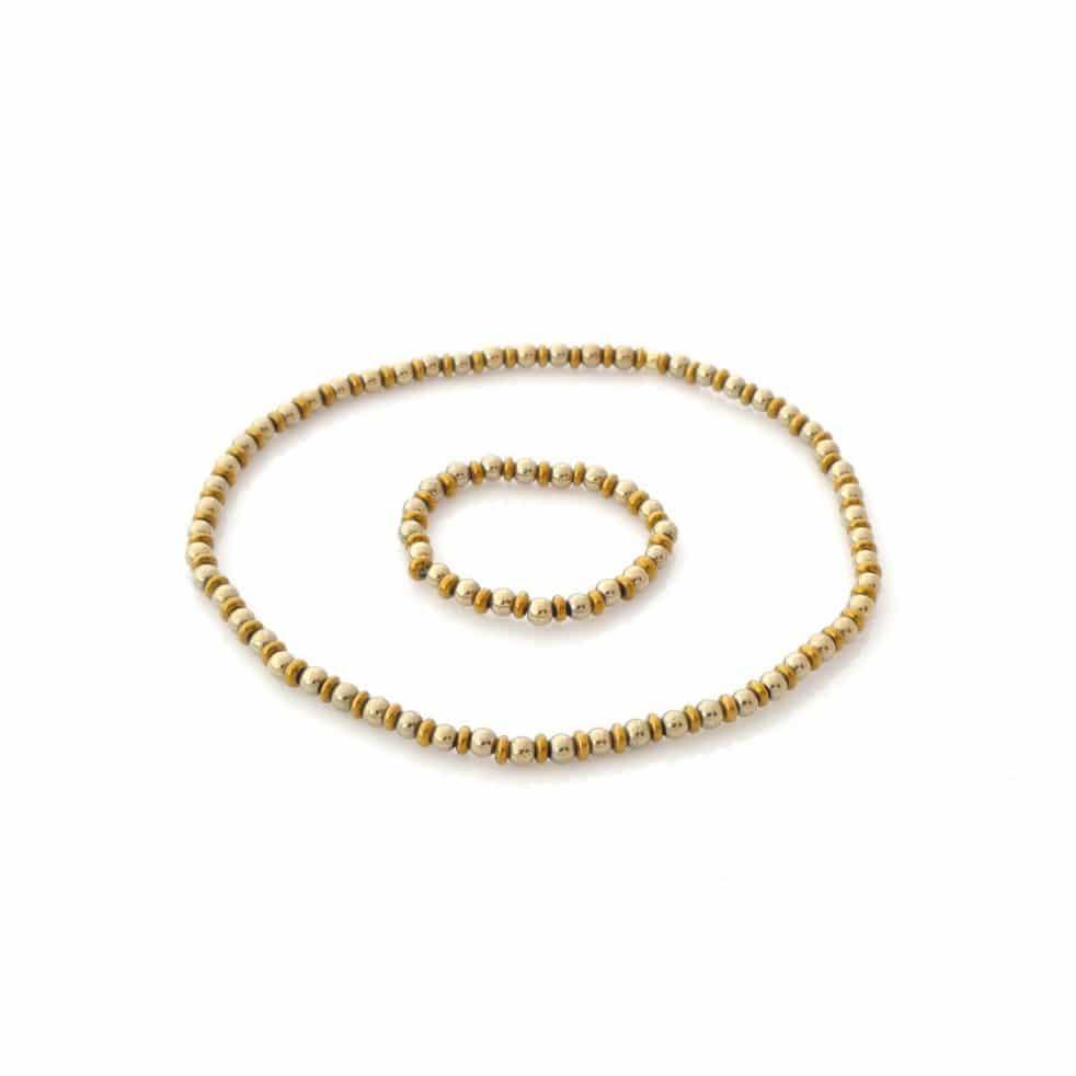 Złota magia zestaw pierścionek elastyczny i bransoletka z mini kamieni