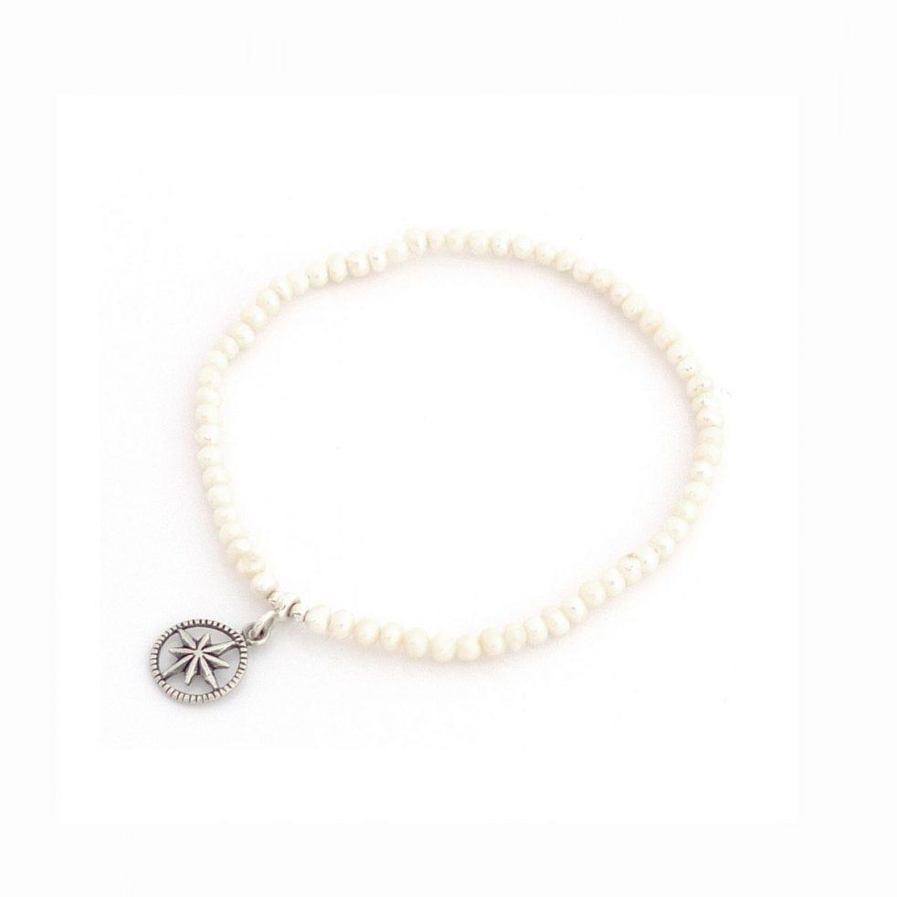 bransoletka dla podróżniczki róża wiatrów perły mini