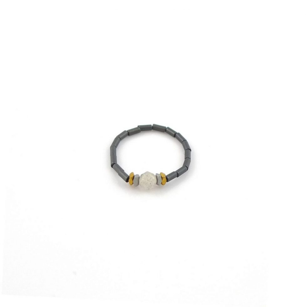Matowy pierścionek z labradorytem
