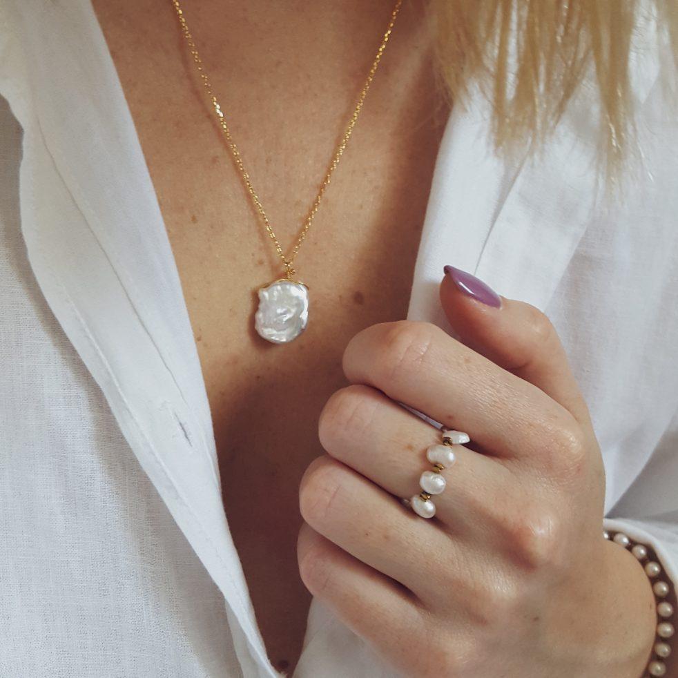 perła naszyjnik pierścionek mio sasso