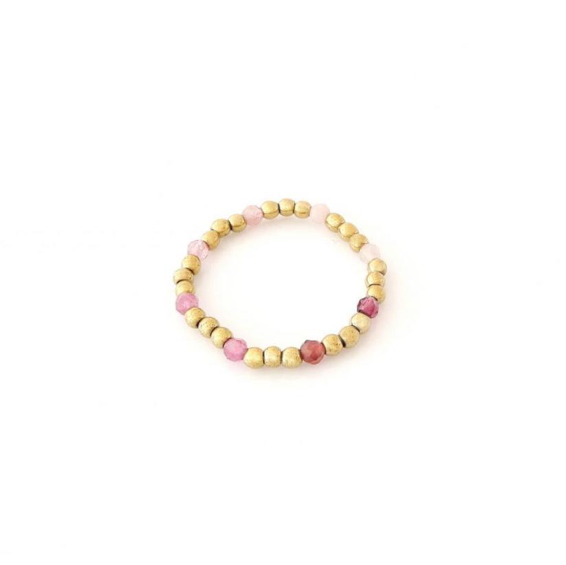 Złoty pierścionek elastyczny z różowymi turmalinami